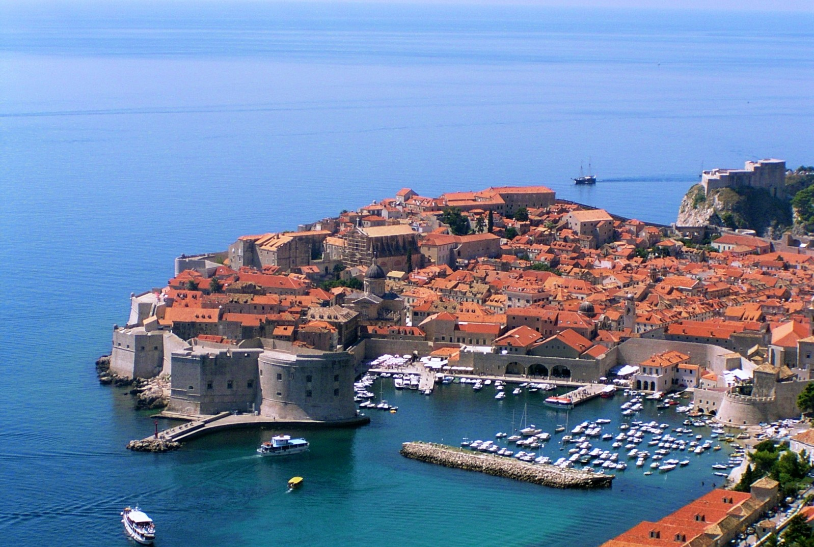 The view over the old town of Dubrovnik