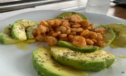 Sailing in Croatia with Hostess - schirmps with Avocado